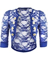WearAll - Damen Spitze Knopfverschluss Elastisch Geraffte Kurzarm Strickjacke Cardigan Top - 12 Farben - Größe 36-42