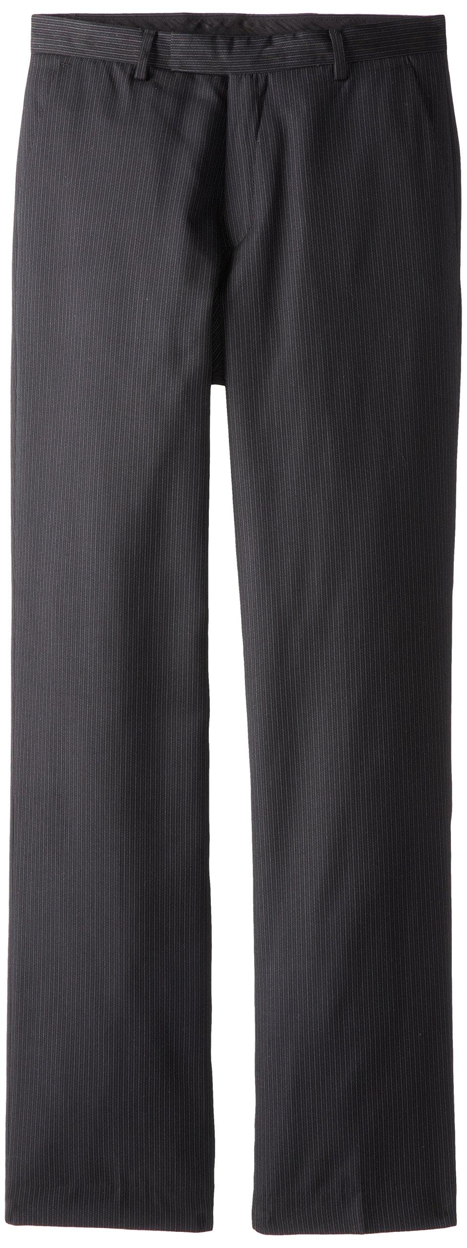 Calvin Klein Boys' Flat Front Dress Pant, Black, 18
