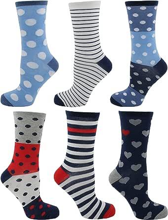 Calcetines Tom Franks 6 pares, de mujer, de diseño, algodón, talla ...