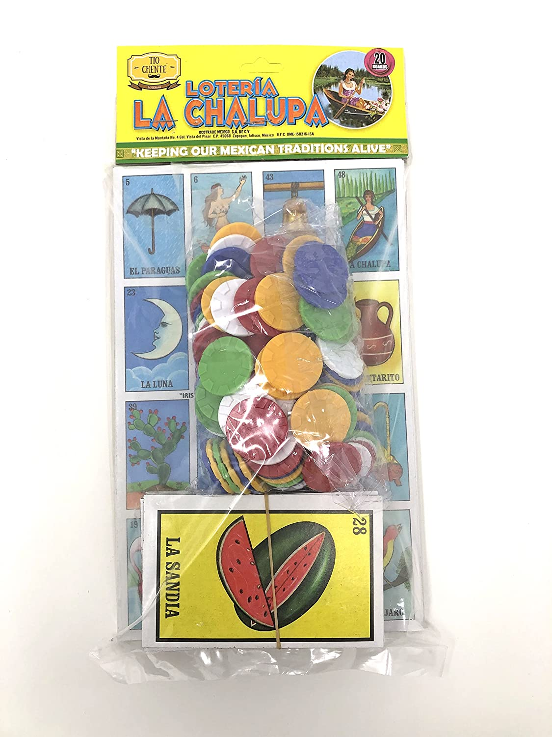 Amazon.com: Tio Chentes Set of Loteria Mexican Bingo with Colorful Poker Bingo Chips and Mexican Fake Play Money Bills: Toys & Games