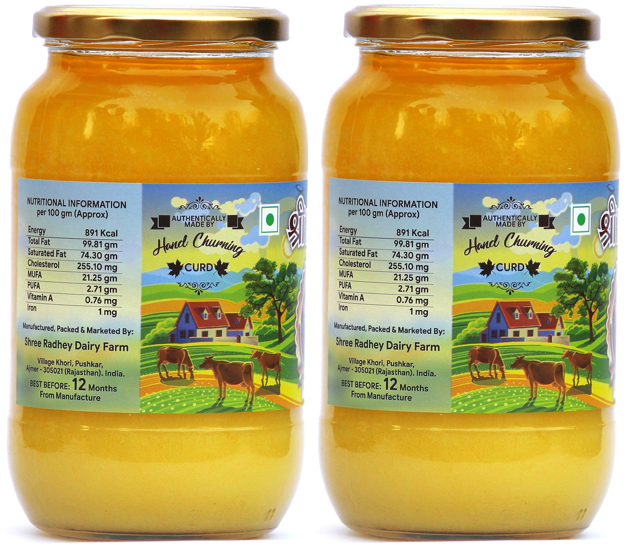 Shree Radhey Certified A2 Gir Cow Ghee - Gluten Free - (Traditionaly Hand Churned) (1000 ml X 2) by Shree Radhey (Image #3)