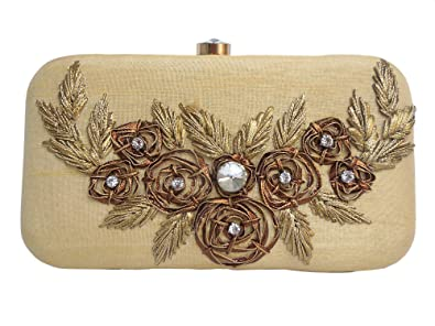 fa922faf6f6 Image Unavailable. Image not available for. Color: Spice Art Golden Gota  Patti Zardozi Embroidered Designer Box Clutch for Ladies