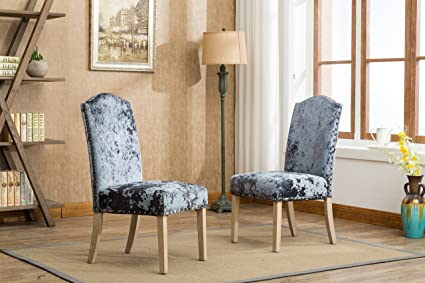 Delicieux Roundhill Furniture C176CC Caen Nail Head Urban Style Solid Wood Ice Velvet  Fabric Padded Parson Chairs