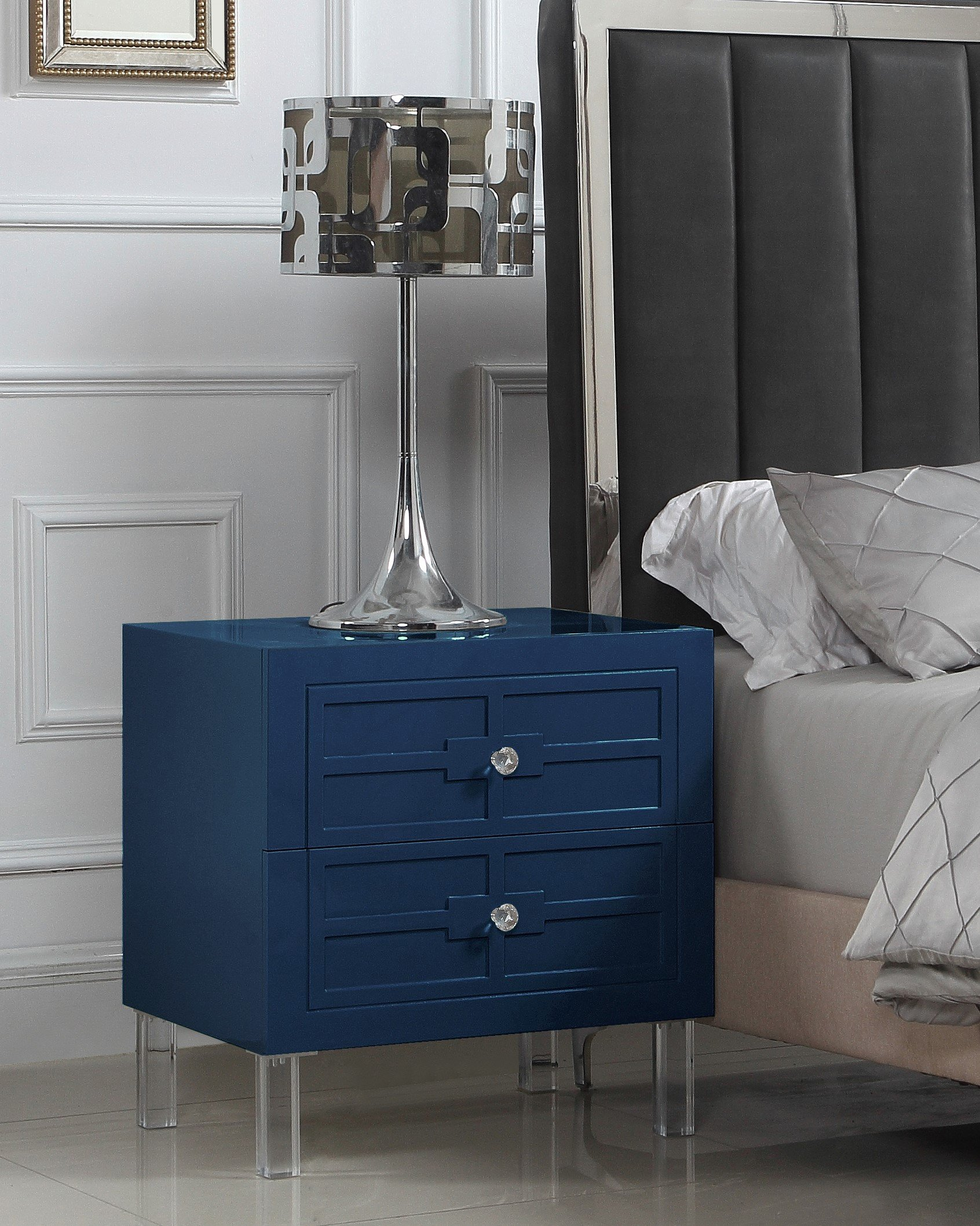 Iconic Home Naples Nightstand Side Table with 2 Self Closing Drawers Lacquer Acrylic Knob Legs, Modern Contemporary, Royal Navy by Iconic Home