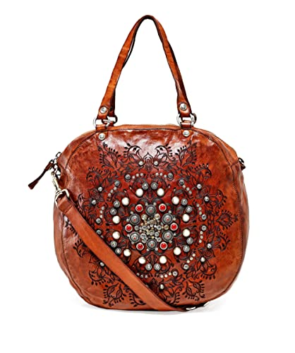 performance sportswear detailed pictures promo codes Campomaggi Women's Leather Studded Western Round Bag Brown ...
