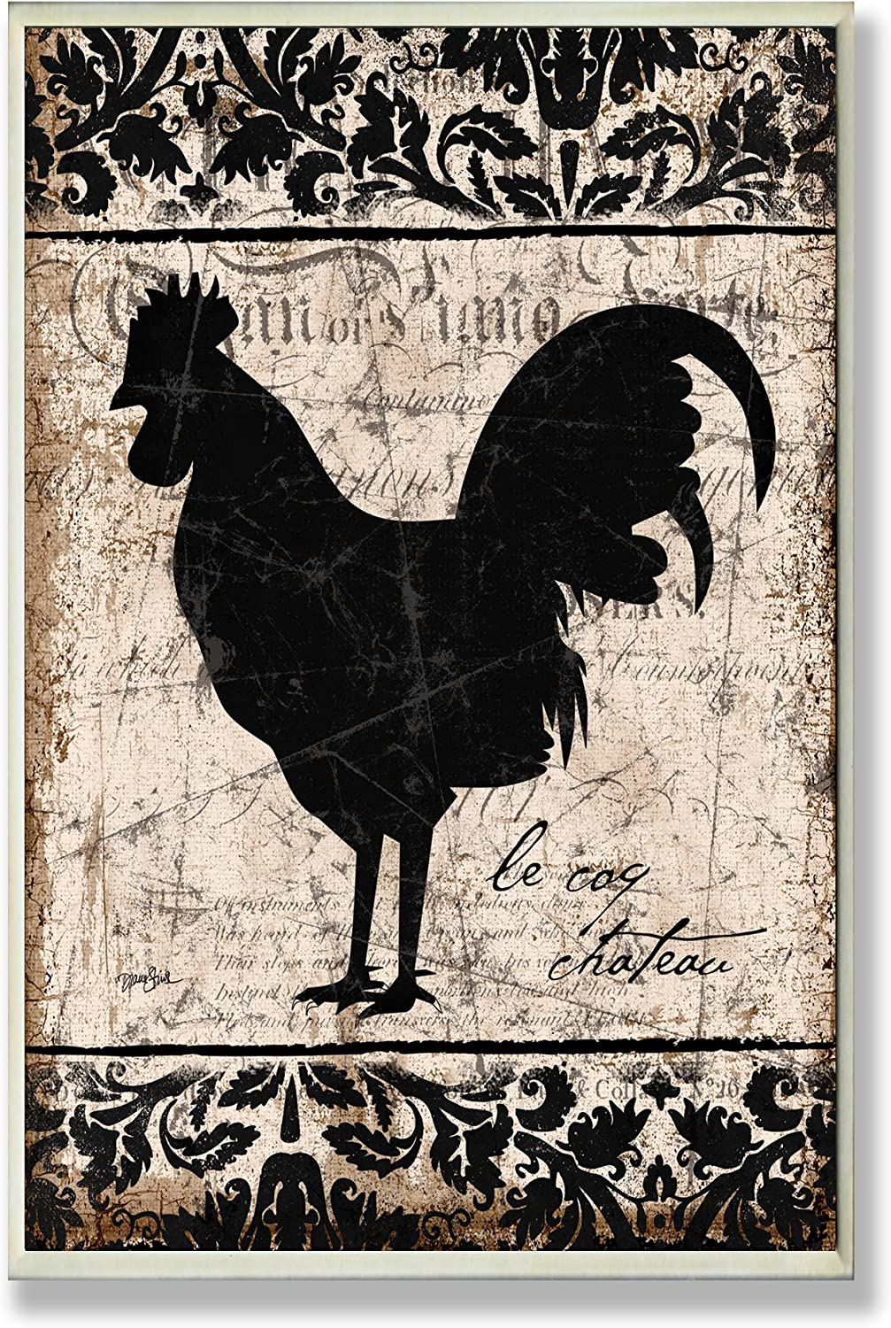 The Stupell Home Decor Collection Rooster Black and White Kitchen Wall Plaque