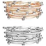 Finrezio 2 PCS Silver&Rose Gold Tone Multilayer Wrap Bracelets for Women Girls Leather Cuff Bracelets Fashion Boho Bead Charm