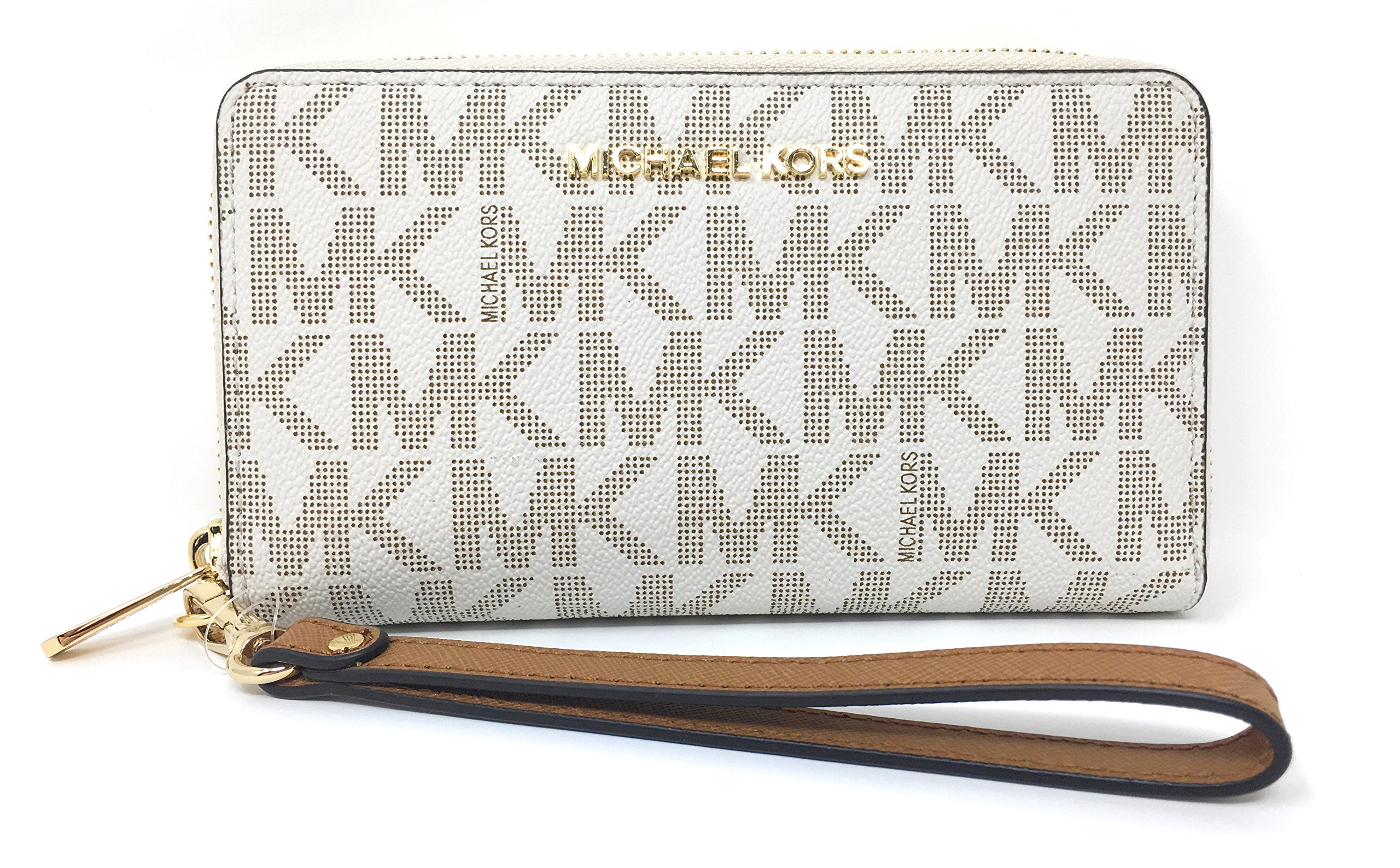Michael Kors Jet Set Travel Signature PVC Large Flat Multifunction Phone Case Wristlet (Vanilla/Acorn)