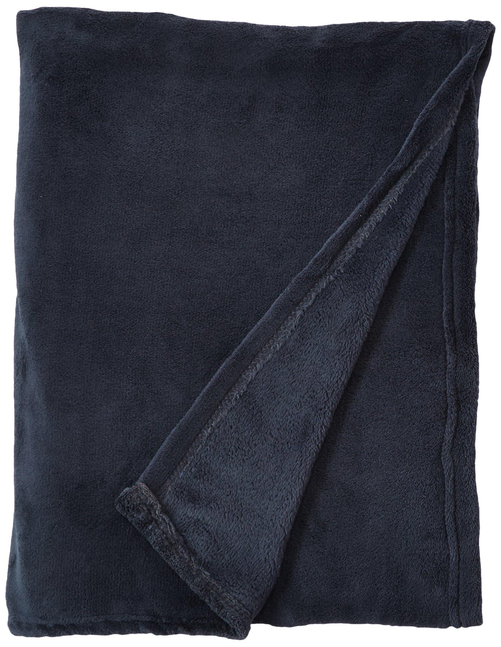 J & M Home Fashions Solid India Ink Plush Fleece Throw Blanket, 50'' x 60'', Gray