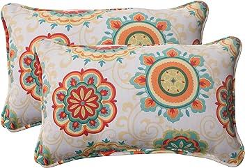 Pillow Perfect Indoor/Outdoor Fairington Corded Rectangular Throw Pillow, Aqua, Set of 2