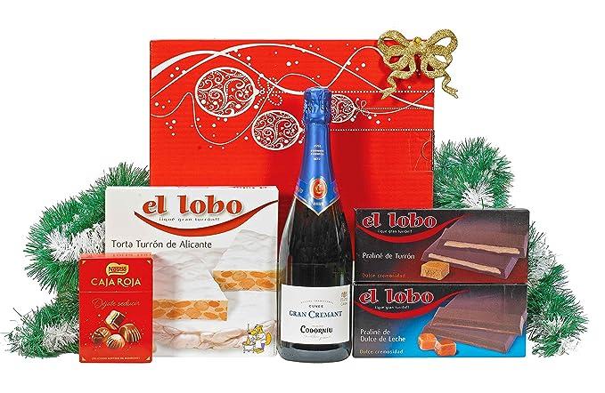 Lote Cesta Gourmet de Navidad Incluye: 1 Bot. Cava Brut CODORNIU Cuvee Gran Cremat 75cl 1 Torta Turrón Alicante Suprema EL LOBO 100g 1 Tableta Prealiné de ...