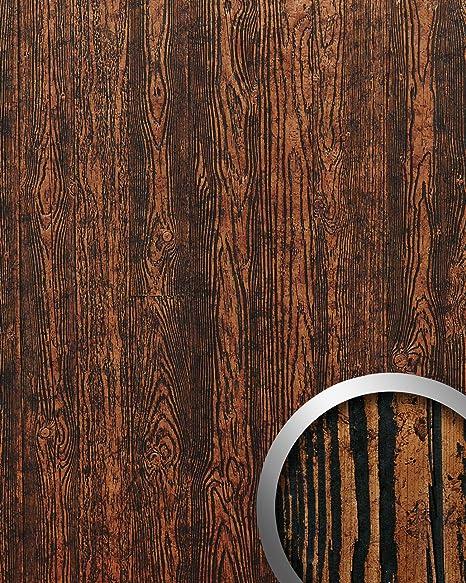 Panel decorativo autoadhesivo diseño madera con relieve 3D WallFace 14807 WOOD Color marrón cobre negro 2