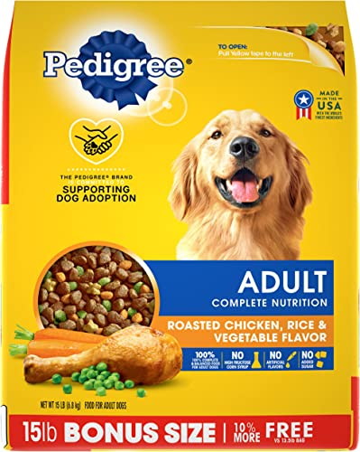 PEDIGREE Adult Roasted Chicken, Rice Vegetable Flavor Dry Dog Food 15 Pounds