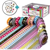 16 verdreifacht Größe (10 m), handverlesenes Washi Tape Rollen,dekorativen Craft Tapes,Scrapbooking, DIY & More~Ultra Sticky & ungiftig ~ Glitzer, Mustern & Feststoffe ~ inkl. 4 Bonus Aufkleber Seiten