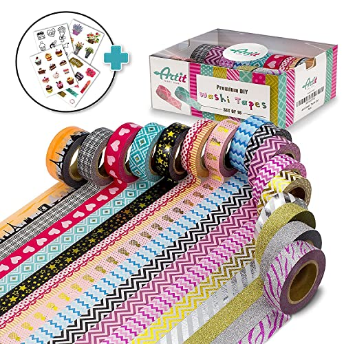 ARTIT Washi Tape Set 16 Extra Long (10 Meters) Decorative Rolls Craft Duct Masking Tapes Scrapbooking DIY Gift-Wrapping Glitter Patterned Solid Ultra Sticky Adhesive Includes 4 Bonus Sticker Pages