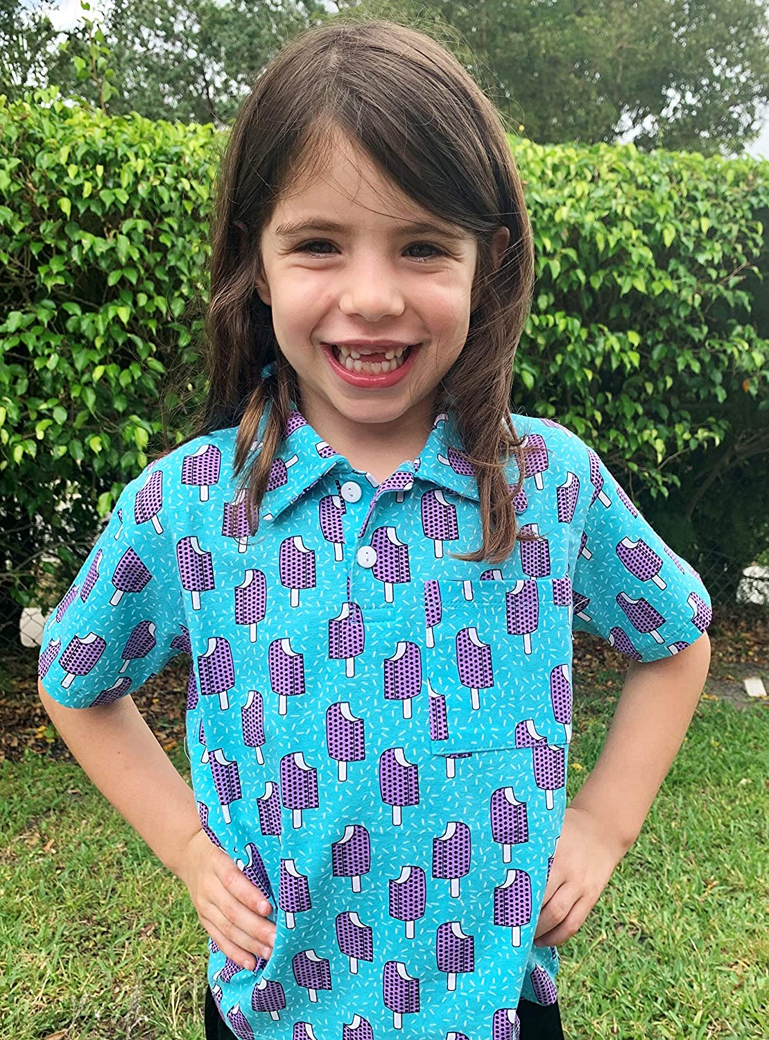 Unique Baby Boys Popsicle Print Short Sleeve Collared Polo Shirt