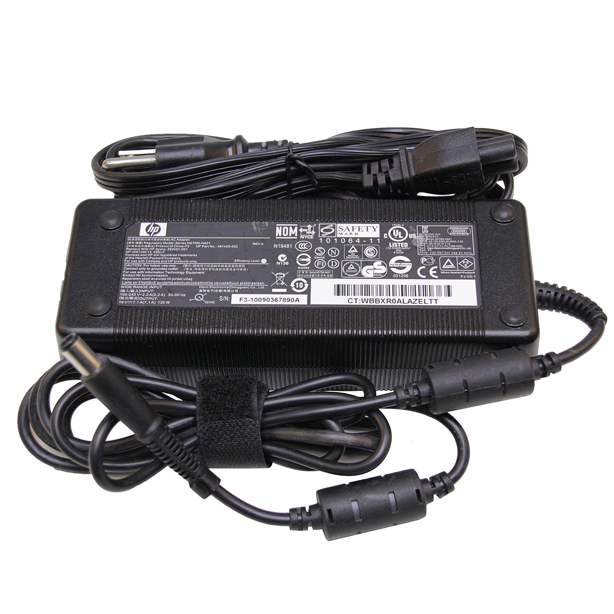 HP Compaq Original Smart AC Adapter 135W for HP Compaq Business NW8440 NW9440 NX6310 NX6315 NX6320 NX6325 NX7300 NX7400 NX8410 NX8420 NX9420 TC4400 397747-001 135 Watt 19.5V Power Supply Charger Cord