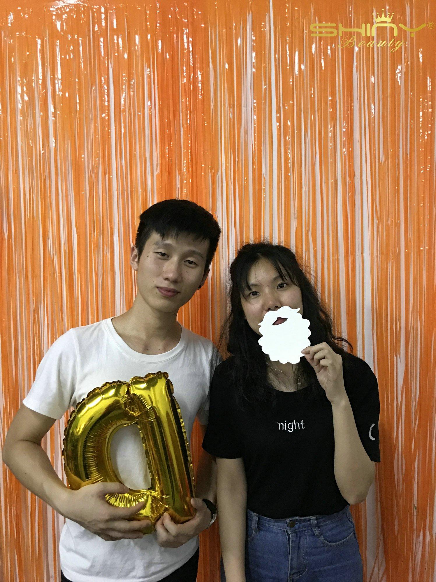 ShinyBeauty Foil Fringe-Backdrop-9FTx8FT-Orange Metallic Door Window Curtain Party/Birthday/Wedding Decoration (9FTx8FT, Orange)