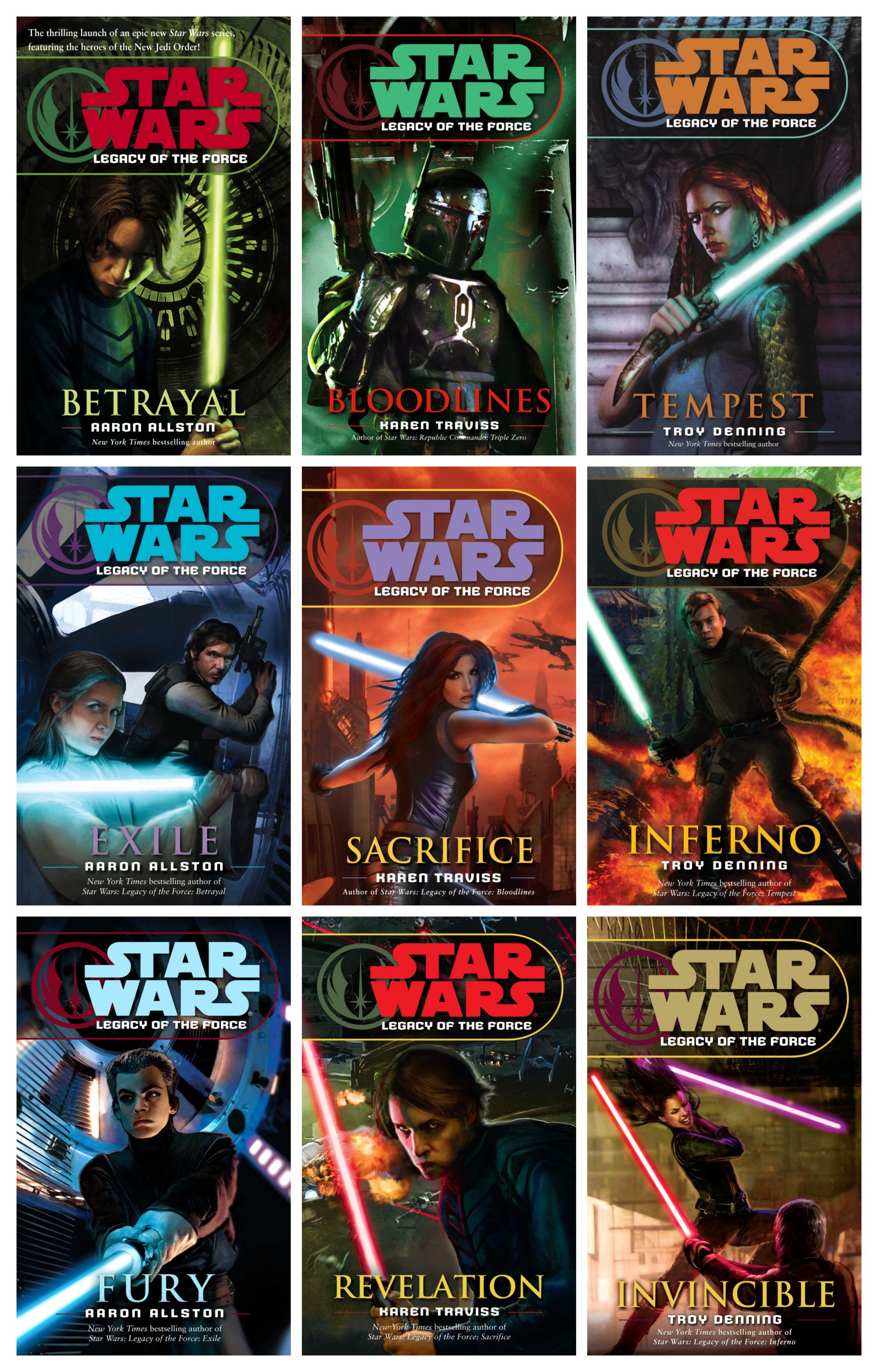 Read Online Star Wars - Legacy of the Force (Books 1-9, Betrayal, Bloodlines, Tempest, Exile, Sacrifice, Inferno, Fury, Revelation, Invincible) pdf