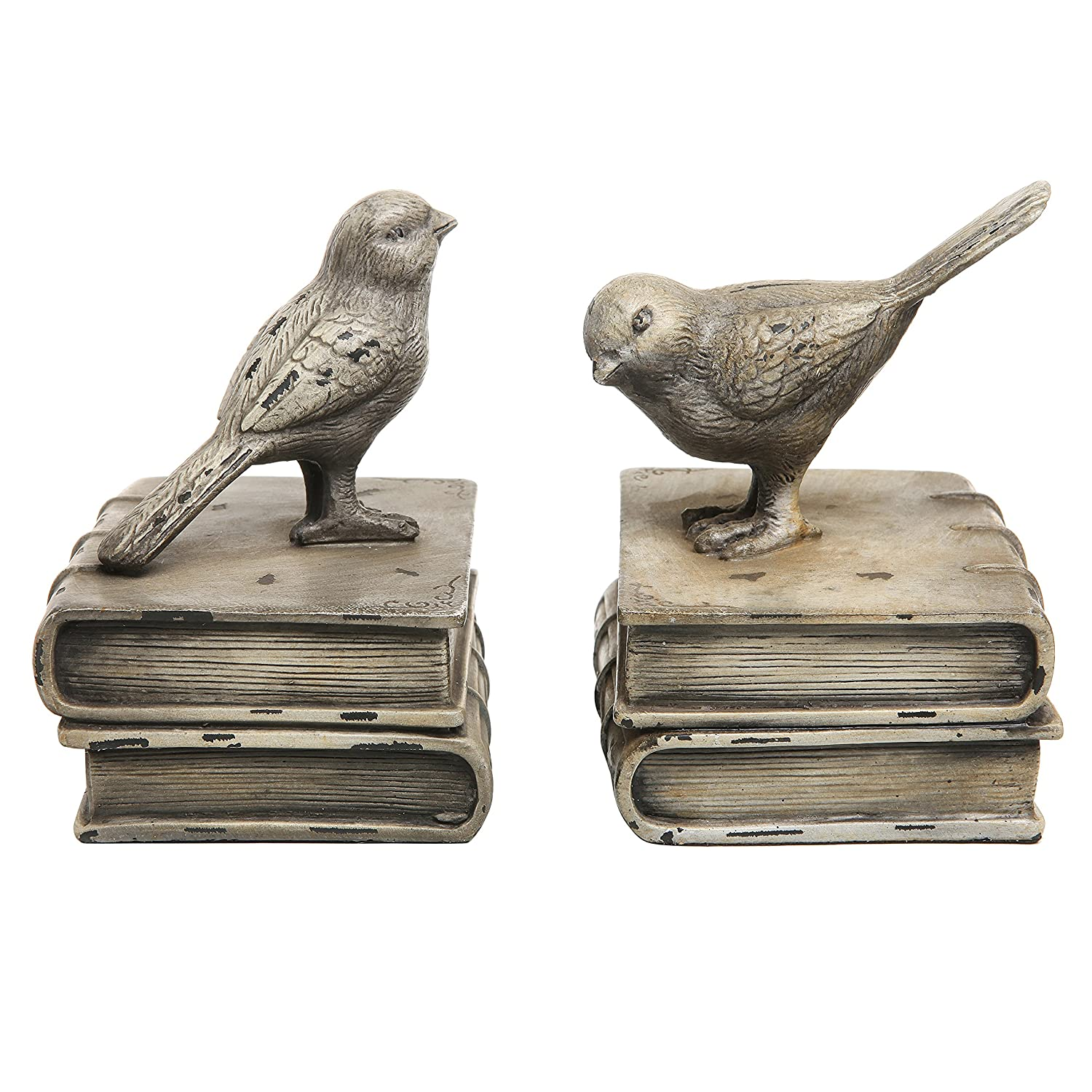 Vintage Style Decorative Birds & Books Design Ceramic Bookshelf Bookends / Paper Weights - MyGift® Home
