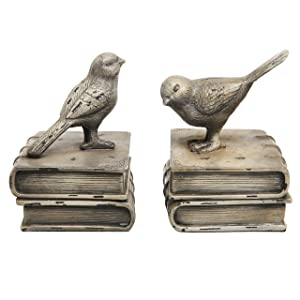 MyGift Decorative Birds & Books Design Vintage White Ceramic Bookshelf Bookends/Paper Weights, 1 Pair Home