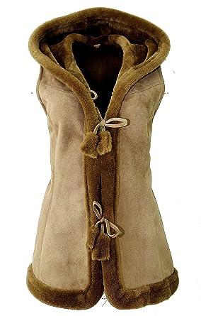 446ecf6eb254fe DX-Exclusive wear Damen-Schaffellweste, Lammfellweste (Wildleder, Velour) /  Gilet, Weste/KK-0005: Amazon.de: Bekleidung