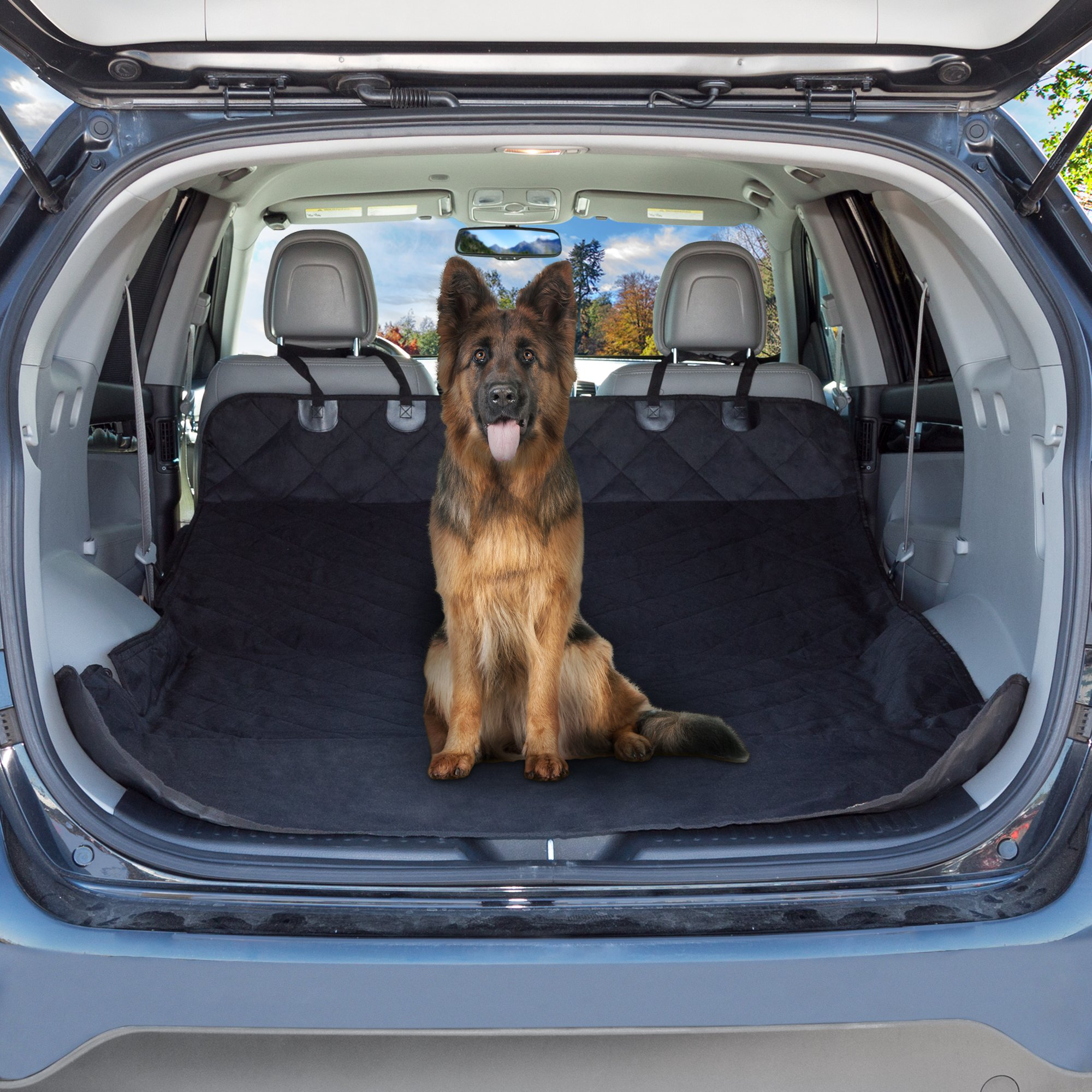 PETMAKER Cargo Liner Dog Seat Cover- Quilted Waterproof All Weather Non-Slip Trunk Pet Travel Mat with Bumper Flap Protector for SUVs