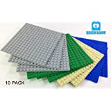 Brick Loot 10 Pack Compatible 5 X 5 inches Baseplates 16 x 16 dots Base Plates - Variety Pack