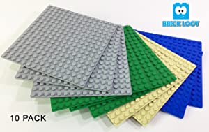 10 Pack Compatible 5 X 5 inches Baseplates 16 x 16 dots base plates - Variety Pack by Brick Loot