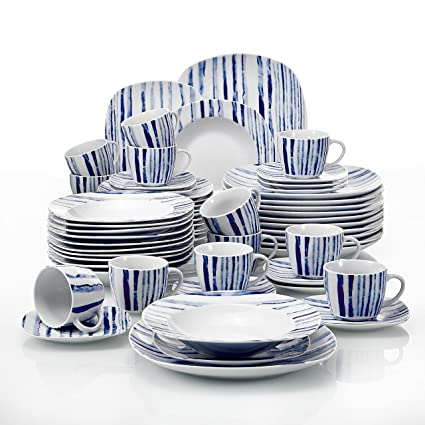 VEWEET 60-Piece Porcelain Dinnerware Set Ivory White Plate Sets Kitchen Plates Service for  sc 1 st  Amazon.com & Amazon.com: VEWEET 60-Piece Porcelain Dinnerware Set Ivory White ...