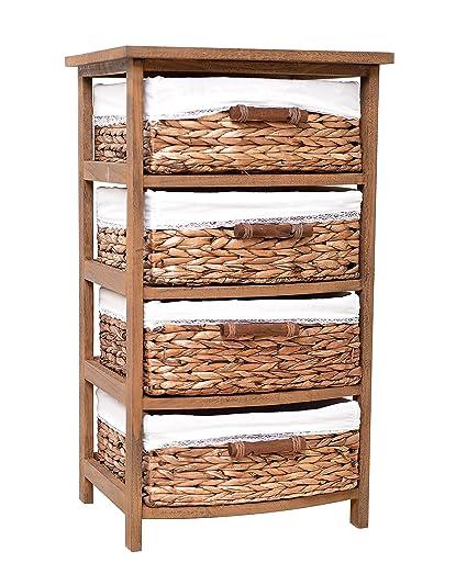 30u0026quot; Height Decorative Wood Cabinet 4 Drawer Seagrass Basket Storage  Unit, ...