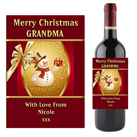 Personalised Merry Christmas Wine Champagne Bottle Label Happy
