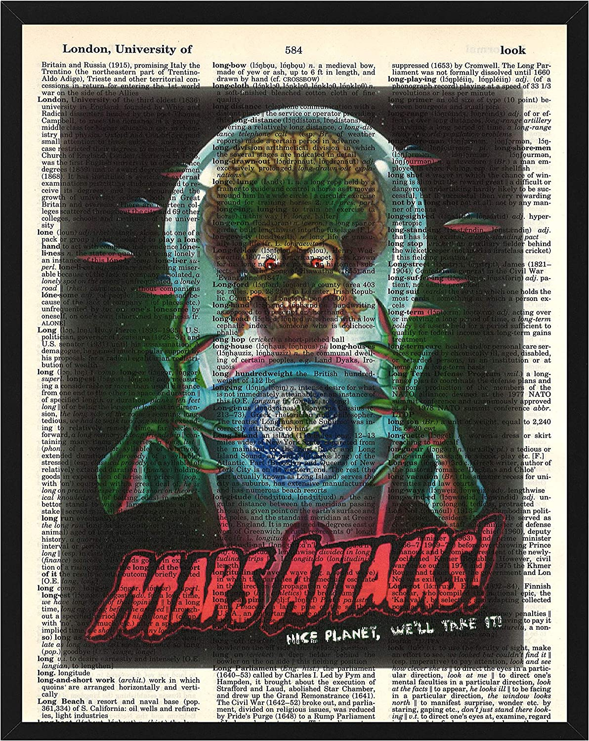 Mars Attacks! Wall Decor Mars Attacks Nice Planet We'll Take It! Dictionary Art Print 8 x 10
