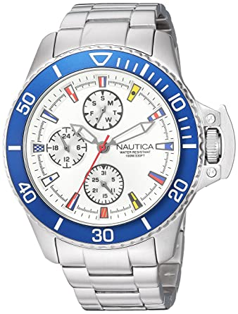 Amazon.com: Nautica Mens Bayside Quartz Stainless Steel and Silicone Casual Watch, Color:White (Model: NAPBYS002): Watches
