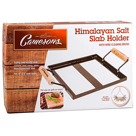 Camerons Products Himalayan Salt Block Holder & Wire Cleaning Brush- Safe &  Easy Salt Slab Plate and Grilling Stone Cooking (8