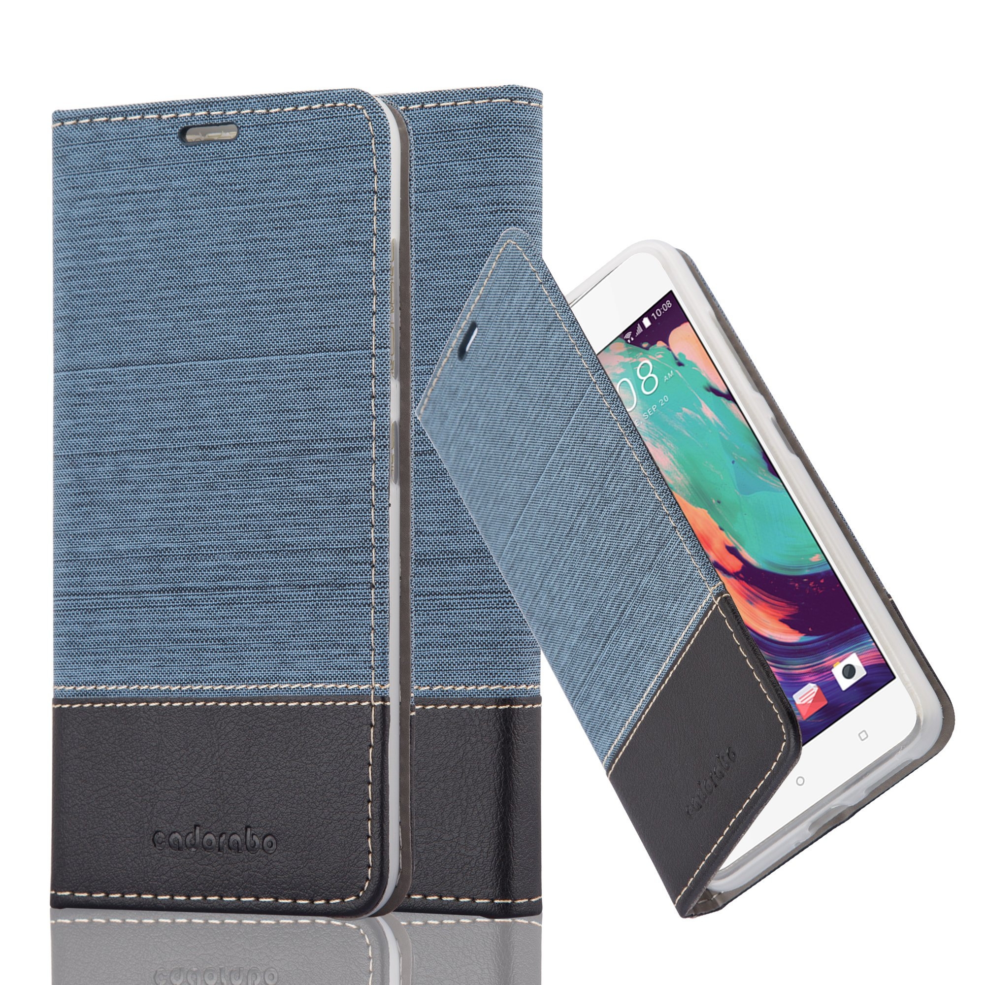 Cadorabo Case works with HTC DESIRE 10 PRO Book Case in DARK BLUE BLACK (Design FABRIC-FAUXLEATHER) – with Magnetic Closure, Stand Function and Card Slot – Wallet Case Etui Cover PU Leather