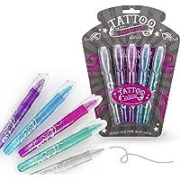 Juego de bolígrafos de gel para tatuajes, 5 colores brillantes, incluye plantilla, tatuajes infantiles, regalo para…