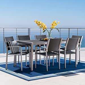 Christopher Knight Home Crested Bay Patio Furniture ~ 7 Piece Outdoor Wicker and Aluminum Dining Set