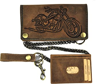 Biker Geldbörse Vintage Leder Geldbeutel Portemonnaie Kette Hunterleder Motorrad