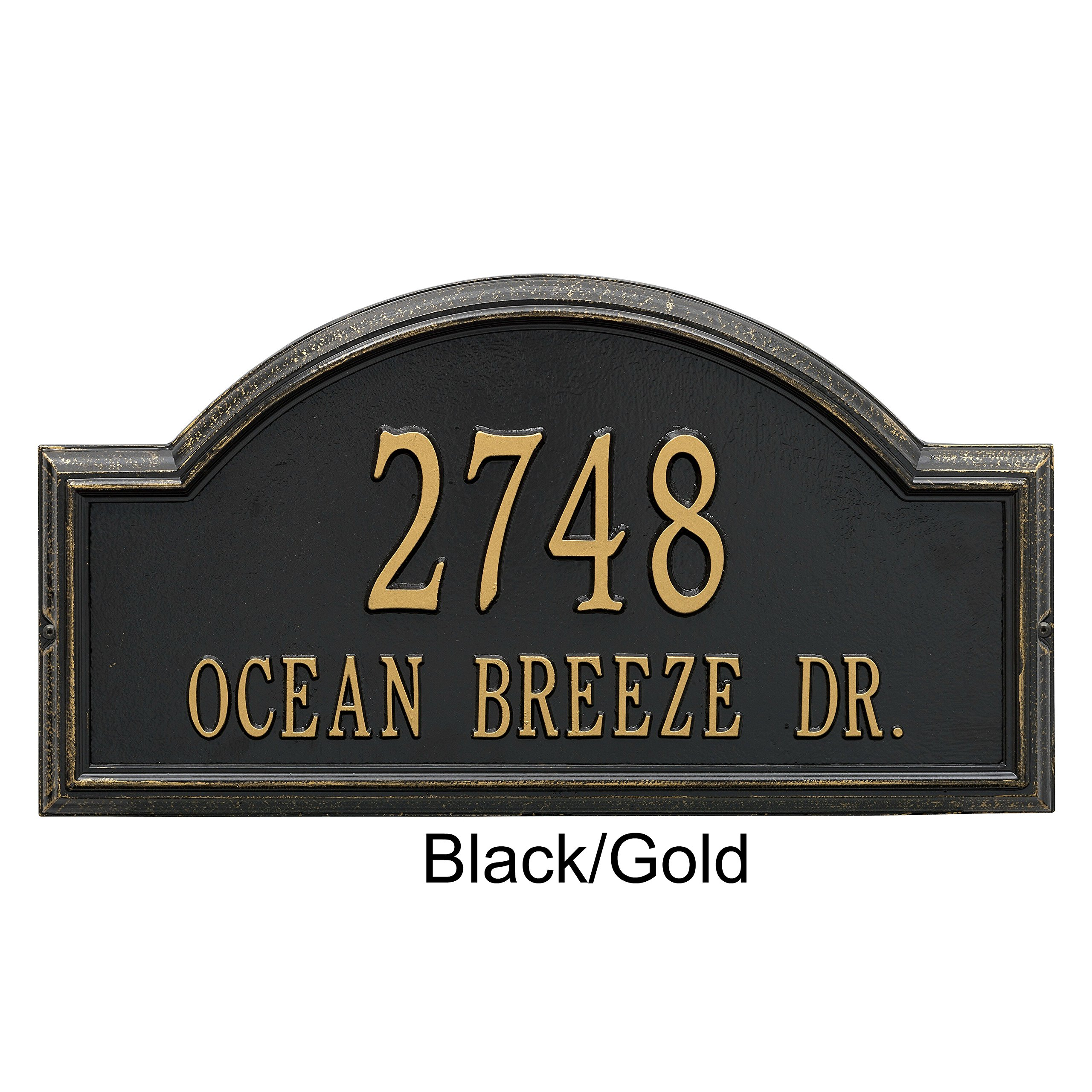 Whitehall Products Providence Arch Address Plaque - Estate Wall Plaque (Two Line Version), Black and Gold Letters - BG