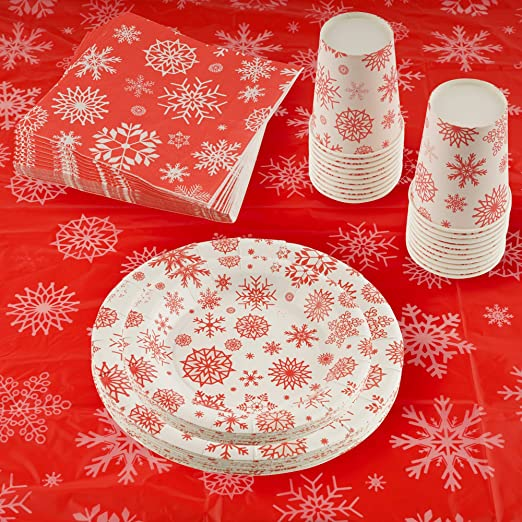 Amazon.com: 141 Piece Christmas Party Set Including Plates, Cups, Spoons, Forks, Knives, Napkins, and Tablecloth, Serves 20: Industrial & Scientific