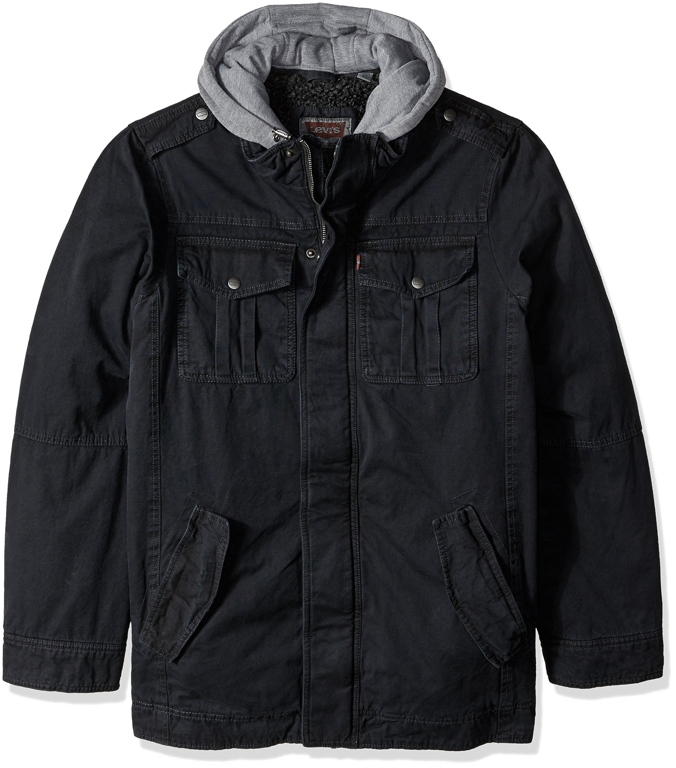 Levi's Men's Big and Tall Washed Cotton Four-Pocket Hooded Trucker Jacket, Navy, 2XT