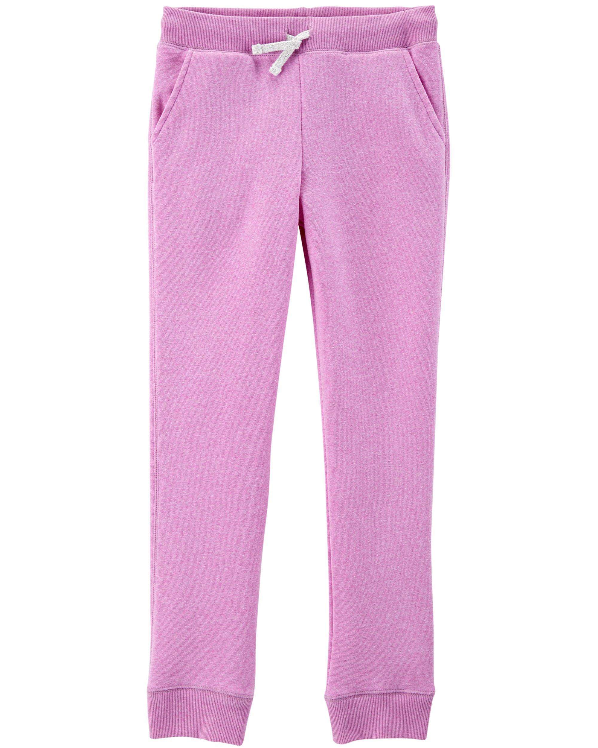 OshKosh B'Gosh Girls' Kids Fleece Jogger Pants, Lilac, 10-12