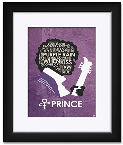 Northwest Art Mall Prince Lyrics Framed & Matted Art Print by Stephen Poon. Print Size: 9