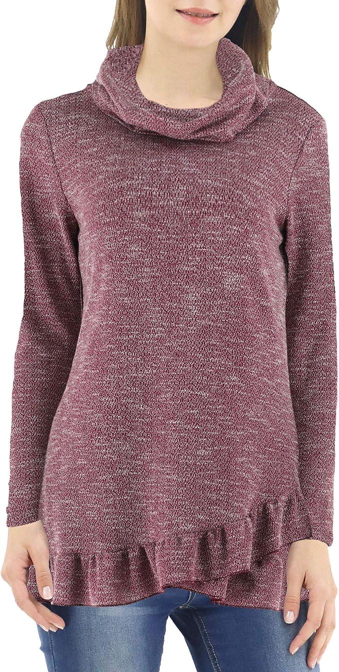 LuluBerry Women's Cowl Neck Pullover Wrap Top Asymmetric Tunic 78MRL Wine M