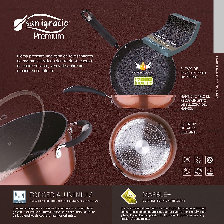 San Ignacio - Sartén grill / plancha 28 x 28 x 4,5 cms. aluminio prensado, color cobre metalizado, mango revestido con silicona, inducción: Amazon.es: Hogar