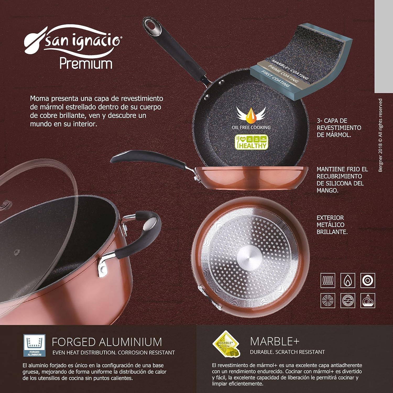 San Ignacio - Sartén grill / plancha 28 x 28 x 4,5 cms. aluminio prensado, color cobre metalizado, mango revestido con silicona, inducción