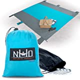 Oversized Sand-Free Beach Blanket - SilNylon Keeps You 100% Dry On Wet Sand & Grass. Large (10' x 9') And Ultralight. Sand Proof + Waterproof Beach Throw Blanket. 6 Pockets + 4 Windproof Stakes (Blue)