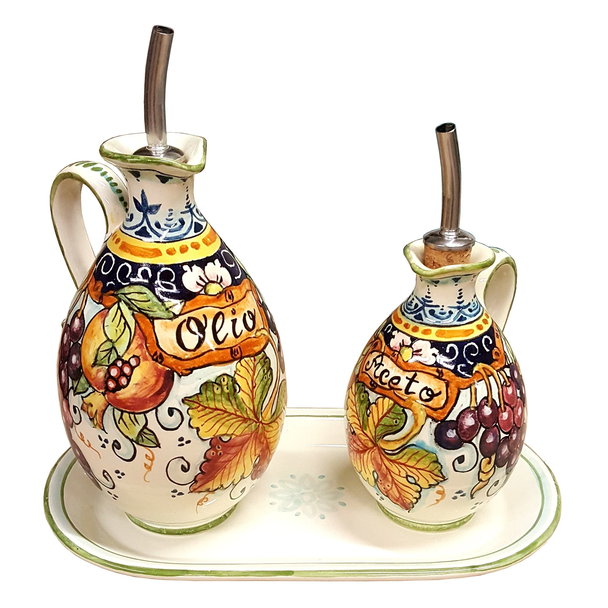 CERAMICHE D'ARTE PARRINI - Italian Ceramic Set Cruet Oil And Vinegar Art Pottery Hand Painted Made in ITALY Tuscan by CERAMICHE D'ARTE PARRINI since 1979