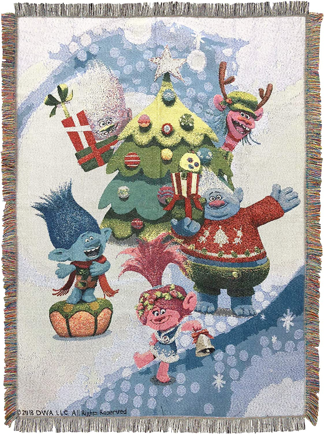 Multi Color Holiday Time Woven Tapestry Throw Blanket 48 x 60 Universal Studios Trolls